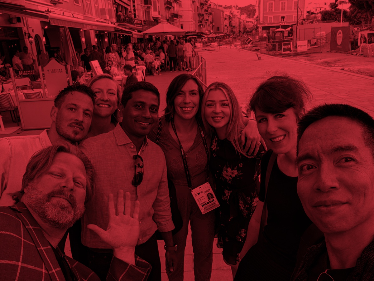 Cannes selfie with CEO Nigel Vaz, John Maeda, and Publicis Sapient presenters at the festival.